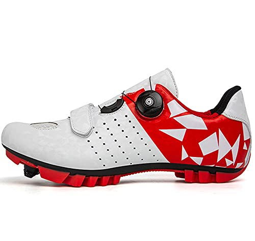 Uhclrr Mens Mtb Cycling Shoes SPD Mountain Bike Shoes Road Bike Shoes Breathable Outdoor Cycle Shoes Compatible With Cleats(47, White)