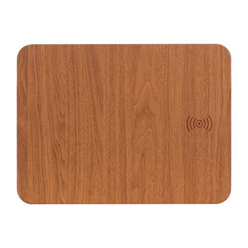 FANGSHUAI Wireless-Charging-Mausunterlage, Holzmaserung Wireless Charging Mauspad Wireless-Ladegerät QI Standard-Multi-Funktions-Desktop-ultradünne schnelle Wireless-Ladegerät