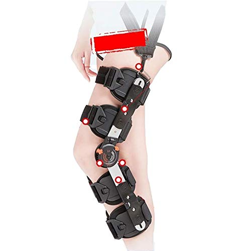 Soporte en la rodilla ortesis Brace, ligero con bisagras ajustables ayuda de la rodilla tirantes rodilla articulada con la correa de hombro ROM rodilla ortesis inmovilizador lesión en el ligamento de