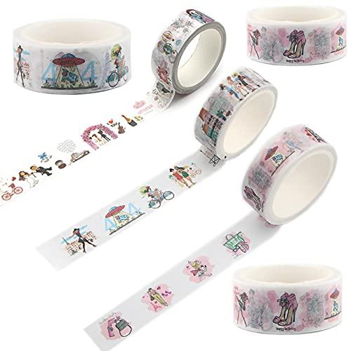 LFYZ Cinta Decorativa, Boda de Dibujos Animados 6 Rollos Washi Tape Set,...