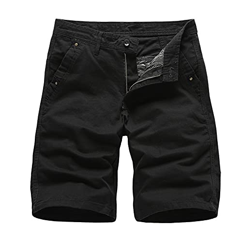 N\P Pantalones cortos de carga de los hombres de verano de los hombres de algodón casual pantalones cortos deporte color sólido longitud de la rodilla