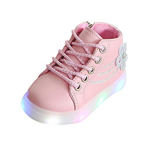 LHWY Botas de Cordones Invierno con Luces para Niñas Bebé Forradas Calentar Antideslizante Impermeable Zapatos de Deporte Zapatillas Botitas Patucos Casual Deportivo Suela Blanda Rosa 30