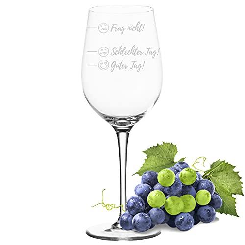 POMEKI® Leonardo CIAO Weinglas mit Gravur spülmaschinenfest, Weinglas guter Tag schlechter Tag Frag nicht, Stimmungsglas, Rotweinglas mit Gravur, Weißwein Glas auch als Dekoration (430 ml)