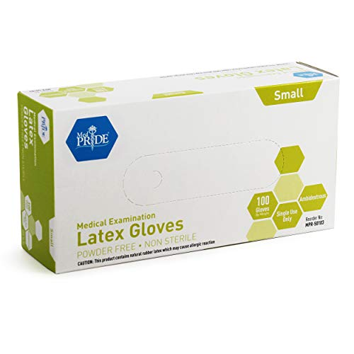 Medpride Medical Exam Latex Gloves| 5 mil Thick, Medium Box of 100 Powder-Free