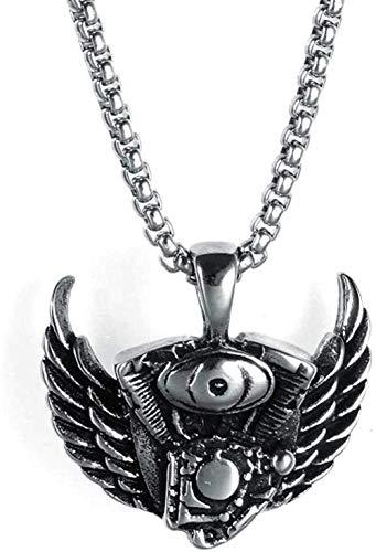 WLHLFL Collar Motor Alas de ángel Collar con Colgante de Acero Inoxidable Punk Dominante Collar de Acero de Titanio Regalo para Mujeres Hombres