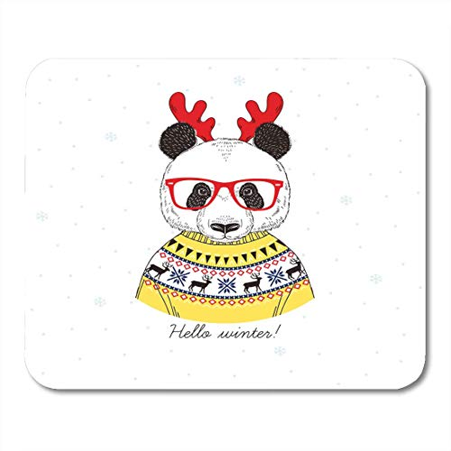 AOHOT Mauspads Cute Portrait of Panda Boy Dressed Up in Jacquard Pullover and Xmas Deer Horns Graphic Animal Mouse pad Mats 9.5