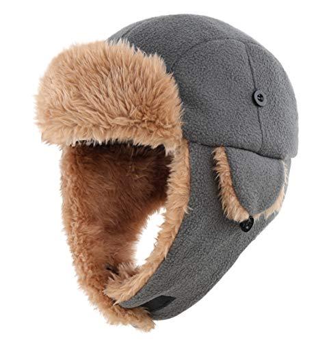 Connectyle Boys Girls Sherpa Lined Trapper Hat with Earflap Fleece Winter Hats Windproof Trooper Hat Gray