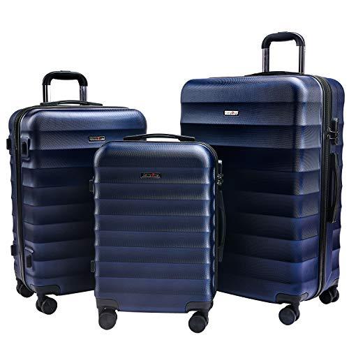 CarryOne ABS Valise Set 3 pièces | roulettes 360°|Combinaison de Serrure | poignée télescopique | TD2-Bleu(55cm,64cm,74cm)