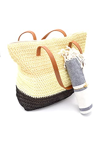 Bolso Verano Mujer 2021 o capazo de Playa + Fouta Pareo a Juego, Forro interior, Bolsillo y cremallera. Bolsa de Playa Rafia + Toalla Playera Tamaño Grande. Bolsos paja Moda (NegroCrema) ⭐