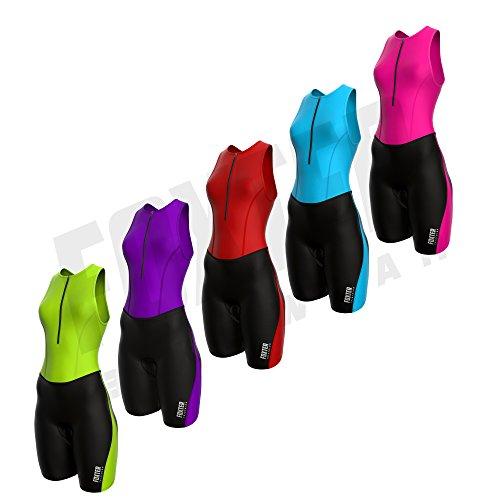 Foxter Combinaison de triathlon seconde peau pour femme, combinaison trifonction de natation, course à pied et...