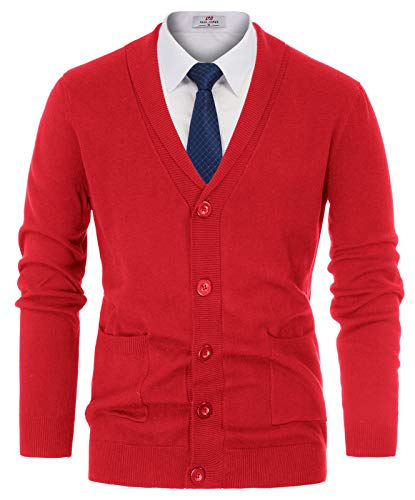 Paul Jones Men's Knit Cardigan Sweaters Shawl Collar 2 Side Pockets XL Red