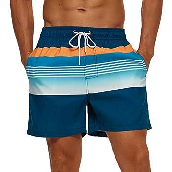 SILKWORLD Men s Quick Dry Swim Trunks with Mesh Lining Bathing Suit Sports Shorts Blue/Orange Stripe Medium