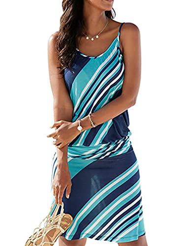 Copricostume Donna Mare Vestito Stampato Ondulato Bikini Cover Up Senza Maniche Abito da Spiaggia Tropical Causal Abiti Estivi