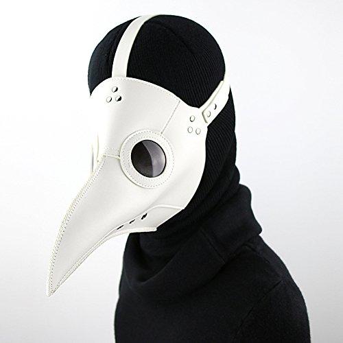 Ilyssm Steampunk Vogelmundmaske, Pest-Doktor Maske Halloween Props, Gothic Retro-Leder-Kostüm Mittelalterliche Cosplay, Stahl Meister Brille, Bar Requisiten,Weiß