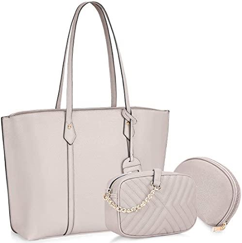 Carmer Bolsos de mano para mujer bolsos de mano para mujer, grandes con asas elegante bolso bandolera resistente al agua set de 3 piezas