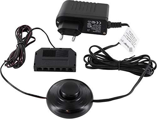 12V MINI-AMP - LED Trafo Netzteil SET 18W mit Fusschalter + 6-fach-Verteiler - schwarz