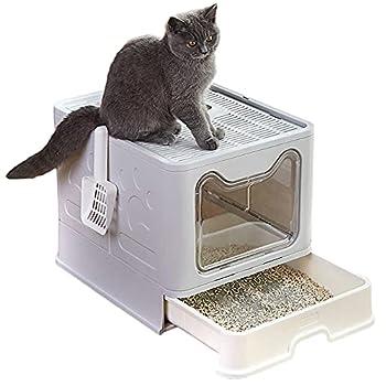 Bounabay Litière pour chat - Pliable - Entrée supérieure - Avec couvercle - Anti-éclaboussures - Facile à nettoyer - Sans odeur - Gris