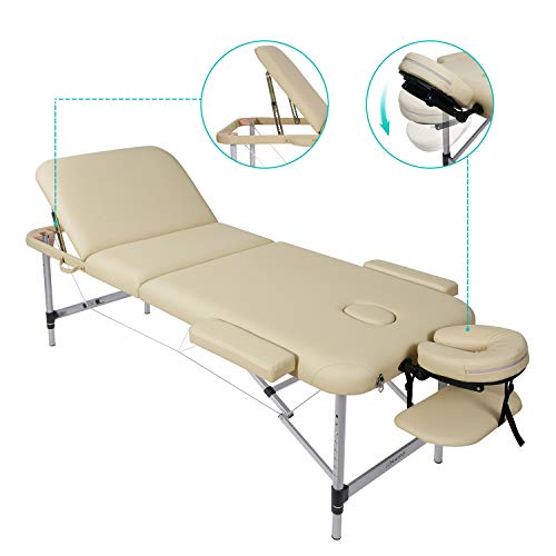 Naipo Massage Table Beauty Bed Foldable Height Adjustable 3 Section Aluminum with Premium PU Leather and High Density Multi-Layer Foam Beige