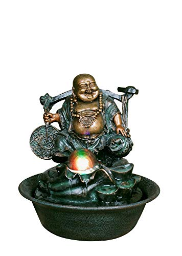 Hi-Line Gifts 10' Bronze and Green Lucky Buddha with Spinning Ball Fountain