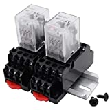 Relè di potenza elettromagnetica HH54P CA 12V relè ferroviario Relè di potenza con 2pcs della base dello zoccolo nero per l'Industria & Production