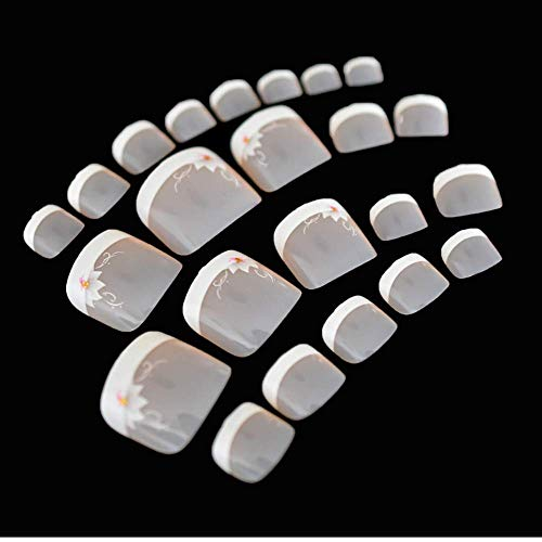 Valse Nagels, Nep Nagels, Natuurlijke Parel Elegante Touch Franse Manicure, Swirl Bloem Tenen Nagels Wit Natuurlijke Roze Voor Tenen Decoratie Tips 24 Stks