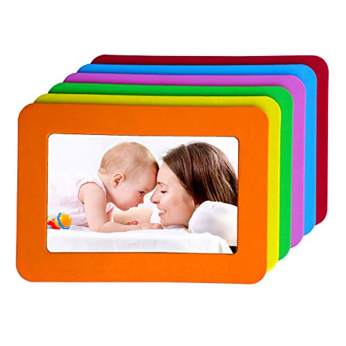 magnetic picture frames 4x6 Magnetic Picture Frames Colorful Magnetic Photo Frames for Refrigerator 4x6 Magnet Frame Thick Strong Magnet Photo Frame Holder Magnetic Frames Magnets Frame for Iron Material Surface Decor 6 Pack