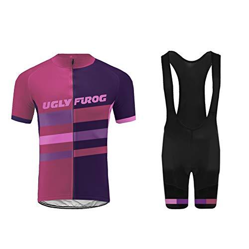 Uglyfrog Abbigliamento Ciclismo Set Estivo Completo Ciclismo Uomo Maglie Ciclismo Manica Corta+Salopette Ciclismo Uomo per MTB DXMX06