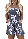 TAIUICY Women's Off Shoulder Romper Floral Printed Strapless High-Waist Jumpsuit Tube Short Jumpsuit with Pockets (S, Grey)