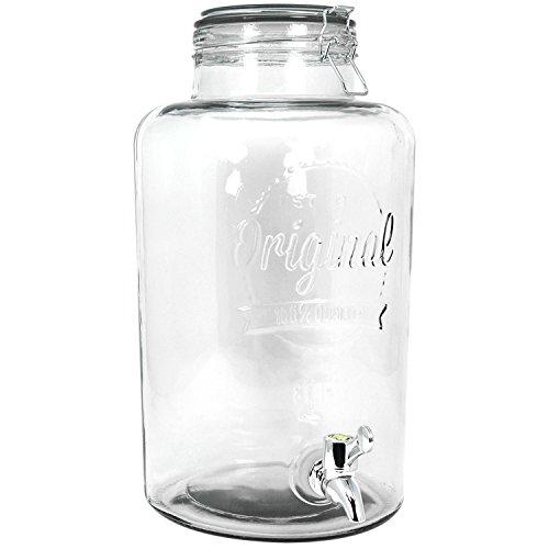 COM-FOUR® drankendispenser gemaakt van glas in een glazen pot ontwerp met kraan en clipsluiting, 8 liter (01 stuk - 8 liter V2)