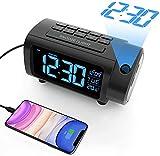 LIORQUE Sveglia con Proiettore Sveglia Digitale da Comodino Display VA con Dimmer Snooze modalità Weekend Grandi Numeri Temperatura Data Ora Legale Porta USB