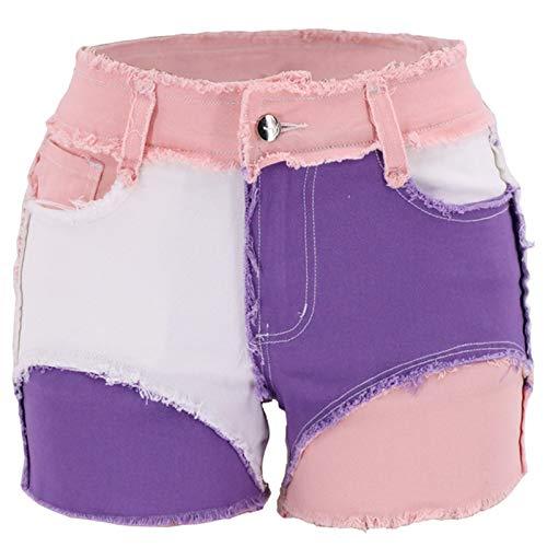 Zestion Pantalones Cortos para Mujer Patchwork Costura Personalidad Bloqueo de Color Slim Fit Cómodo Personalidad Tendencia Pantalones Cortos Casuales X-Large