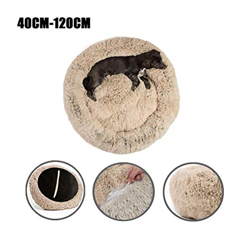 Lrhps Pet Round Nest, Plüsch-Donut-Haustierbett, Rutschfester Boden, Reißverschluss, herausnehmbar, waschbar, für mittelgroße und große Hunde geeignet,Beige,60cm