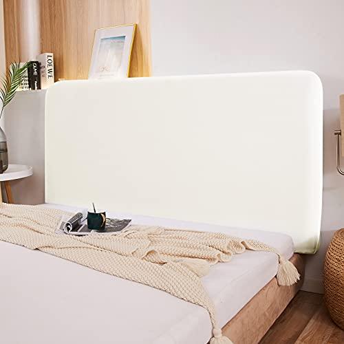 Copertura per testiera per letto, protezione elastica a tinta unita, decorazione per camera da letto, copertura antipolvere, Bianco, Double (47-55')