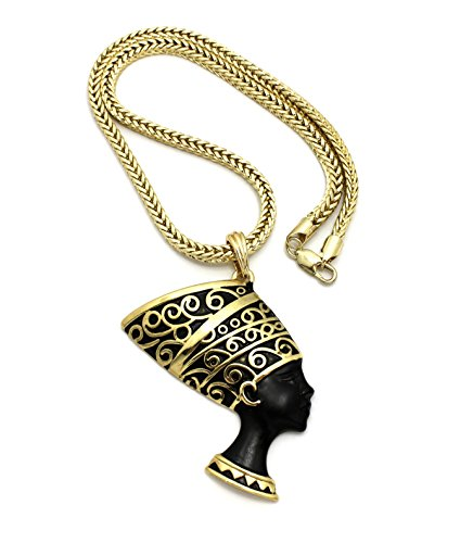 """Crown Egyptian Queen Nefertiti Pendant 18"""" Necklace (Gold/Black with Franco Chain)"""