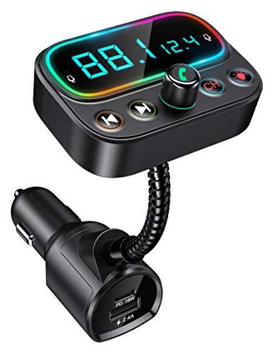 Bovon Bluetooth FM Transmitter mit Dual Mikrofon, Bluetooth Adapter Auto mit des Design [Eine Taste zum Ausschalten], PD 18W Schnelllade, 2.0'' LCD Display, Unterstützt USB-Stick und Aux Ausgang