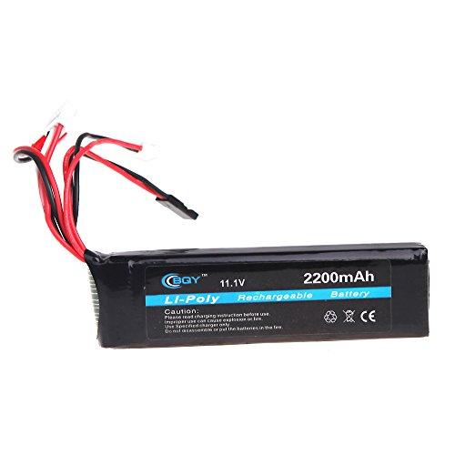KKmoon BQY Transmitter LiPo Battery 11.1V 2200mAh 3 Connector for JR Futaba Walkera WFLY FS Transmitter Battery Shipping from USA