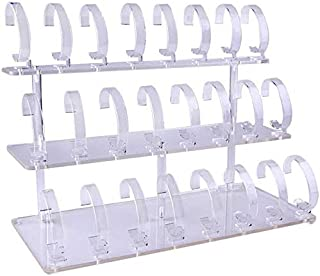3-Tier Watch Stand Holder Removable 24 Acrylic Watch Jewelry Display Rack Watch Frame Watch Holder (Clear)