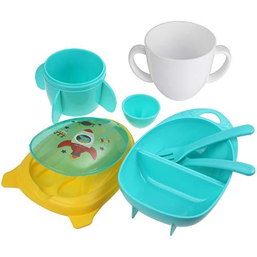 Lictin Set Vajilla Bebé sin BPA,Vajilla Infantil de Naves Espaciales y Cohetes para Bebes, Fácil de Llevar (Verde)