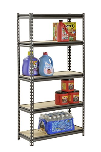 Muscle Rack UR301260PB5P-SV Silver Vein Steel Storage Rack, 5 Adjustable Shelves, 4000 lb. Capacity, 60' Height x 30' Width x 12' Depth