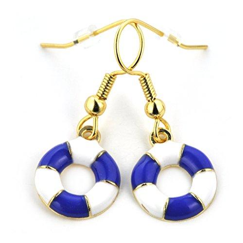 SCHMUCKZUCKER Damen Ohrhänger Rettungsring maritime Ohrringe gold-farben blau-weiß