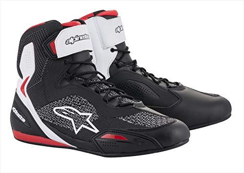 Alpinestars Motorradstiefel Faster-3 Rideknit Shoes Black White Red, Schwarz/Weiß/Rot, 40 EU 2510319123-40