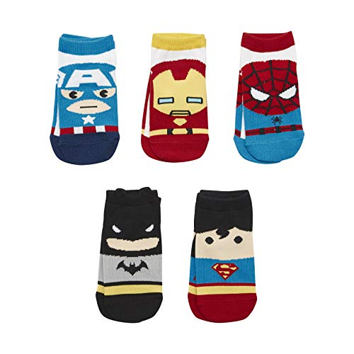 Kids Girls Boys Super Hero Justice League Cartoon Marvel Avengers Ankle Cotton Socks Baby Toddler Child 5 Pairs (Ages 2-3)