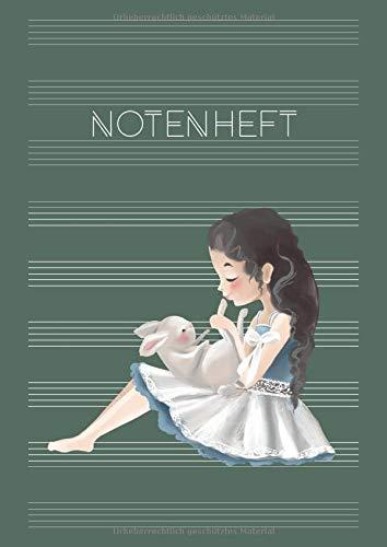 Notenheft: Schule & Unterricht & Hobby | Musik Schreibheft | DIN A4 Blanko Notensysteme mit Inhaltsverzeichnis | große Lineatur für Kinder & Anfänger - Motiv: Mädchen mit Hase
