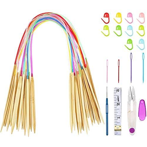 Juego de 18 agujas de tejer de bambú, 2 mm a 10 mm, 18 tamaños, agujas circulares de doble punta con colores