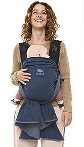manduca Duo Portabebe > blue / azul < Innovador Sistema Click&Tie, Mochila y Fular Portabebés en Uno, Otimizado para Llevar Delante del Vientre, para Recién Nacidos & Bebés (3,5-15 kg)