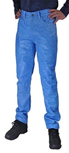 Fuente Kristall Sehr hochwertige Slim fit Lederhose lang Herren/Damen eng- Lederjeans - Echt Leder softes Lammnappa, Lederhose Jeans 501 Blau antik- Motorrad Lederjeans (32, Blau)