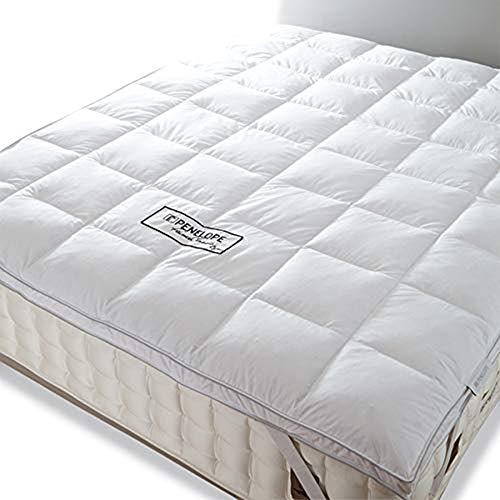 Penelope Bedroom UK - Coprimaterasso, in cotone biologico, 30% piuma, 70% piuma, colore: Bianco