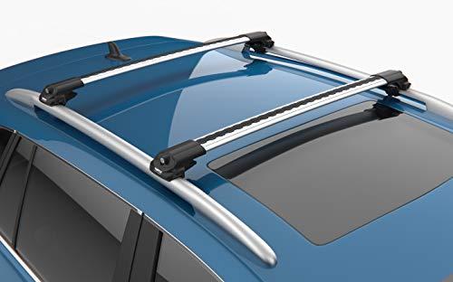 Juego de barras portaequipajes para Ford Grand C-Max MPV (2011-2019), aluminio, Turtle, soporte de barra longitudinal, antirrobo, color plateado