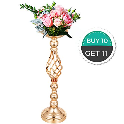 """Happybuy Flower Rack for Wedding 10pcs Metal Candle Stand 21"""" Height Gold Candlesticks Centerpieces for Tables Tabletop Candlestick for Party Events Dinner Metal Flower Arrangemen"""