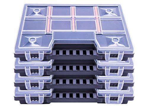 Mini XS – Caja organizadora de plástico PP altamente resistente en un juego de 4 – Dimensiones aprox. 195 x 155 x 35 mm – Peso de cada 150 g – Tapa transparente con 2 cierres de clic estables – Caja con separadores elegibles con espacio para hasta 11 compartimentos.